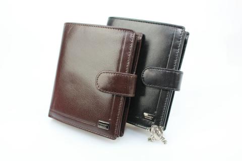 Elegancki skórzany portfel męski HASSION czarny portfel